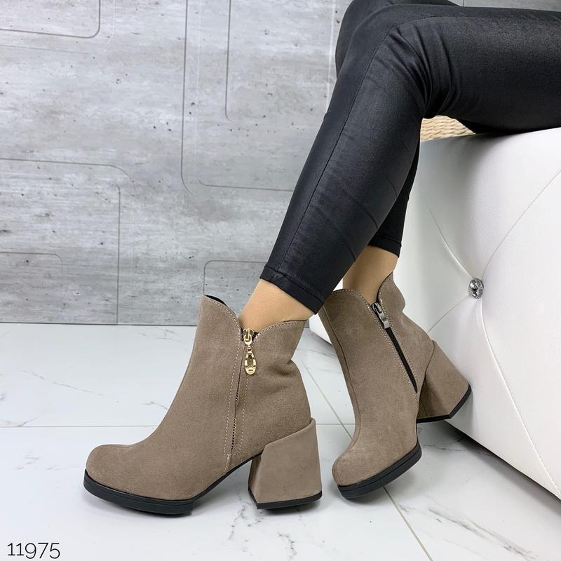 ❤ женские черные весенние деми  замшевые ботинки ботильоны на ... - Фото 3