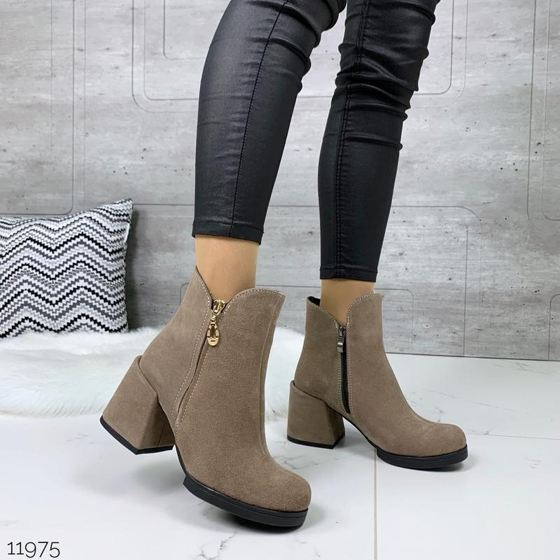 ❤ женские черные весенние деми  замшевые ботинки ботильоны на ... - Фото 4
