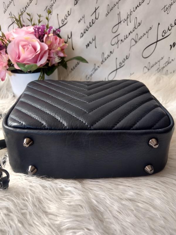 Кожаная сумочка-кроссбоди vera pelle италия. тёмно-синий цвет - Фото 3