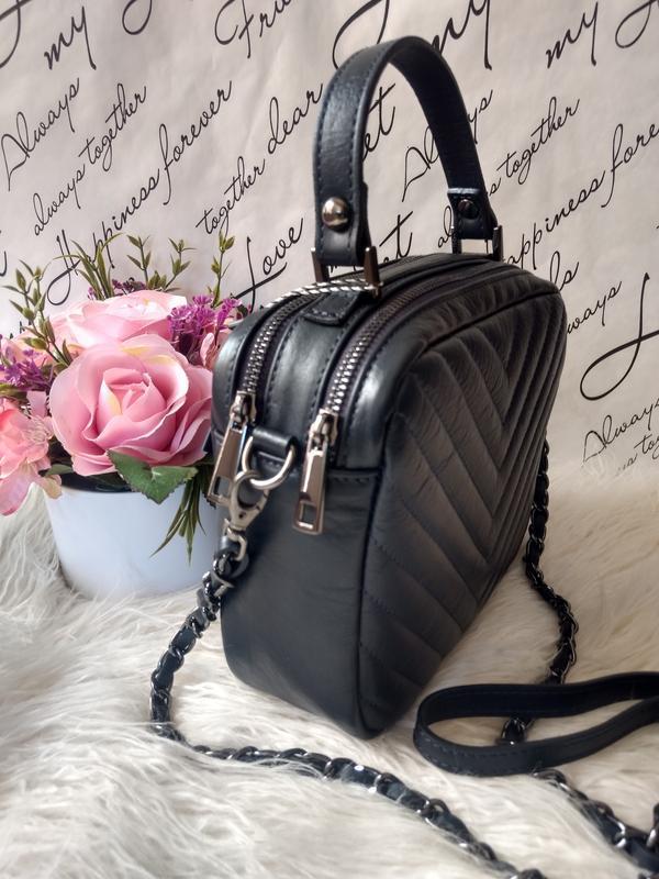 Кожаная сумочка-кроссбоди vera pelle италия. тёмно-синий цвет - Фото 4
