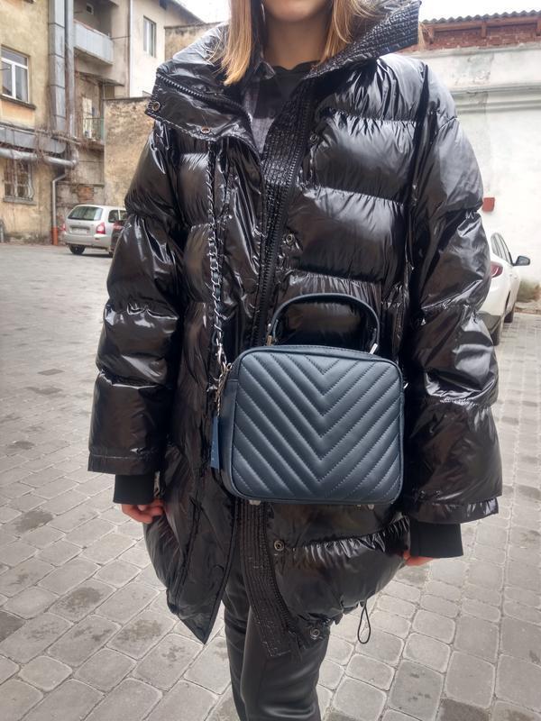 Кожаная сумочка-кроссбоди vera pelle италия. тёмно-синий цвет - Фото 7