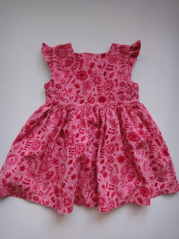 Вельветовое платье m&s в цветы 9-12 мес, 76 см