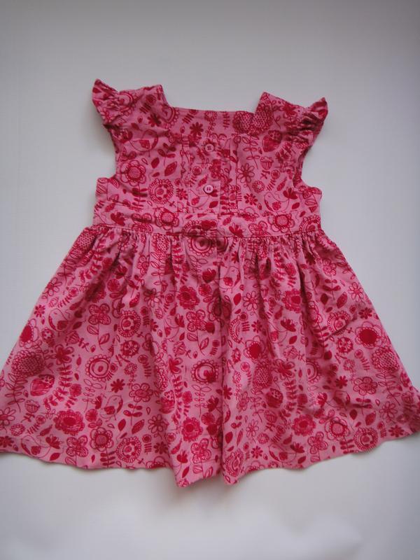 Вельветовое платье m&s в цветы 9-12 мес, 76 см - Фото 2