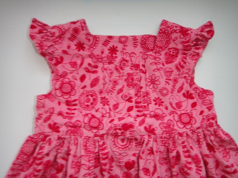 Вельветовое платье m&s в цветы 9-12 мес, 76 см - Фото 3