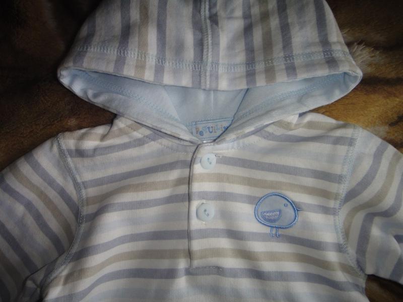 Полосатая кофточка peguilino с капюшоном 3-6 мес - Фото 3