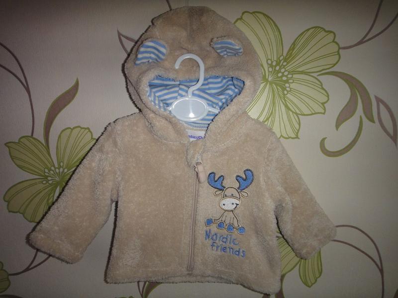 Махровая кофта babies rus с капюшоном на новорожденного