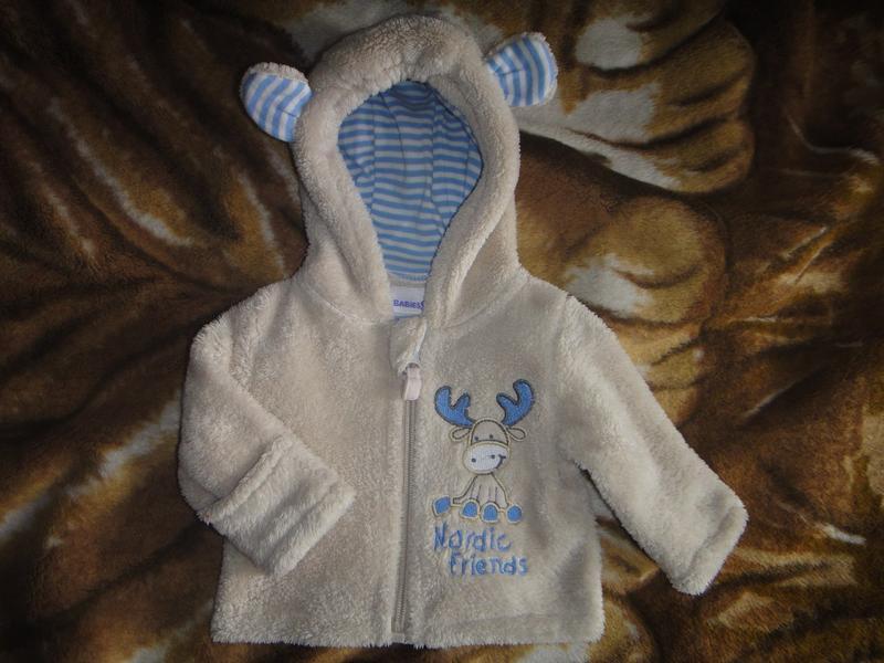 Махровая кофта babies rus с капюшоном на новорожденного - Фото 2
