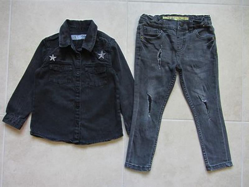 Набор 3-4 года 104: джинсовая рубашка с длинным рукавом джинсы...
