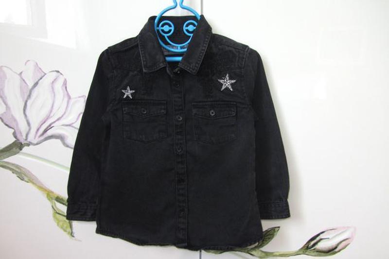 Набор 3-4 года 104: джинсовая рубашка с длинным рукавом джинсы... - Фото 2