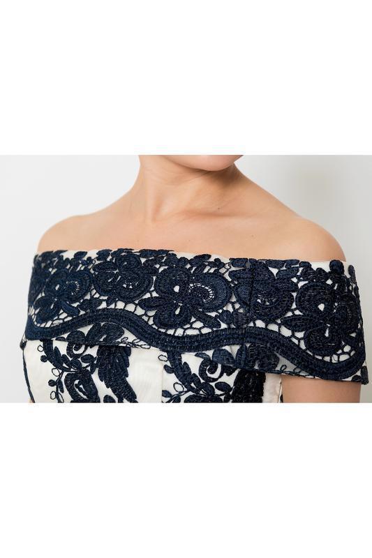 Кремовое кружевное платье-миди👗открытые плечи,дорогого бренда ... - Фото 5