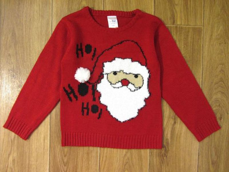 Новогодний новорічний свитер светр кофта Дед Мороз 5-6 лет 110... - Фото 2