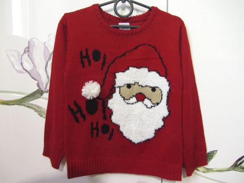 Новогодний новорічний свитер светр кофта Дед Мороз 5-6 лет 110... - Фото 3