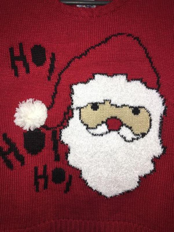 Новогодний новорічний свитер светр кофта Дед Мороз 5-6 лет 110... - Фото 4