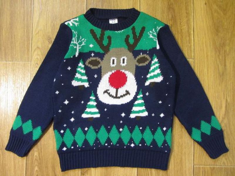 Новогодний новорічний свитер светр кофта Дед Мороз 5-6 лет 110... - Фото 5