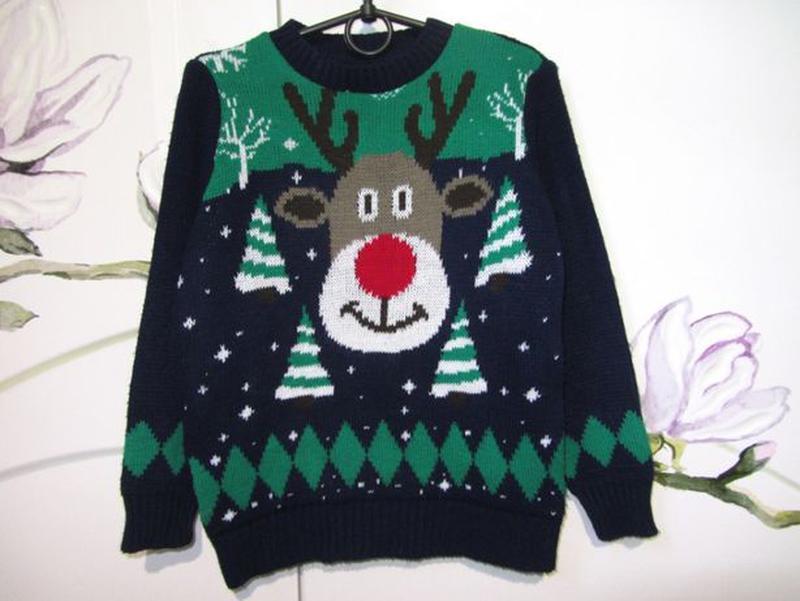 Новогодний новорічний свитер светр кофта Дед Мороз 5-6 лет 110... - Фото 6