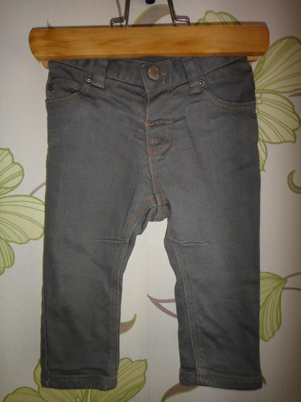 Серые зауженные джинсы h&m eur 68, 4-6 мес