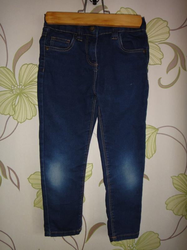 Темно-синие зауженные джинсы denim co 4-5 лет