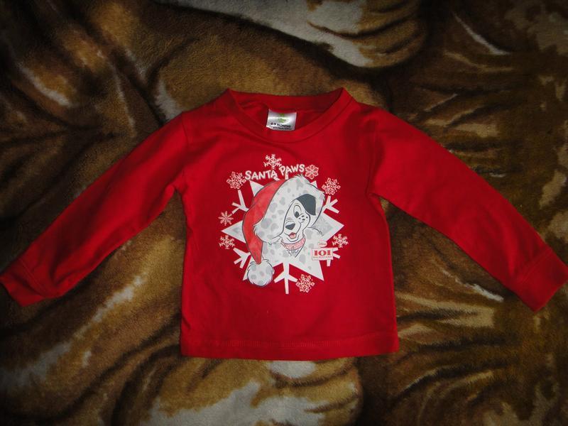 """Красный реглан disney """"santa paws""""   6-9 мес, 76 см - Фото 2"""