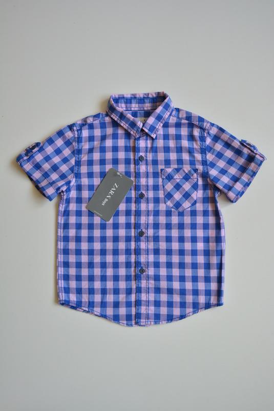 Стильная рубашка для мальчика с коротким рукавом, zara