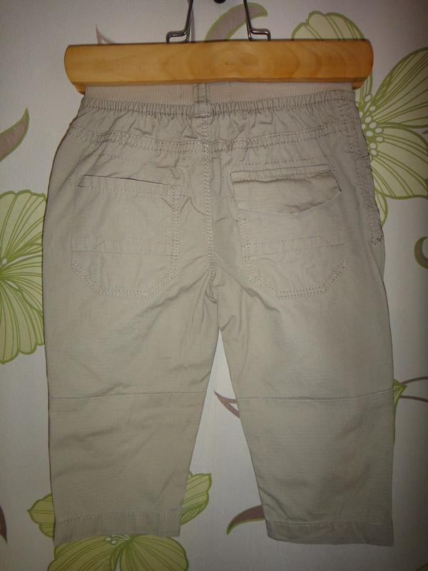 Летние бежевые брюки rebel 9-12 мес, 80 см - Фото 2