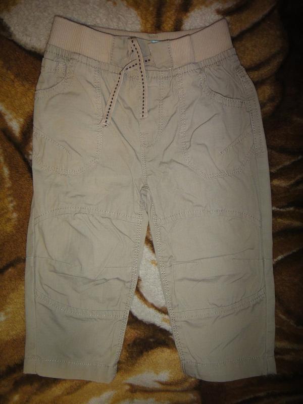 Летние бежевые брюки rebel 9-12 мес, 80 см - Фото 3