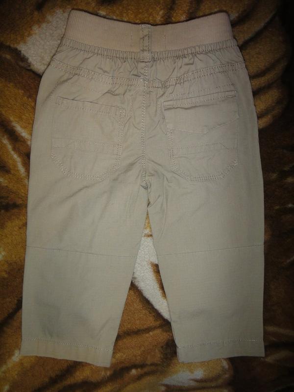 Летние бежевые брюки rebel 9-12 мес, 80 см - Фото 4