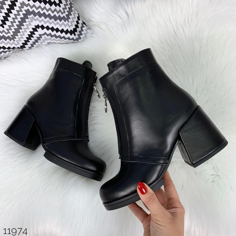 ❤ женские черные весенние деми  кожаные ботинки ботильоны на б...
