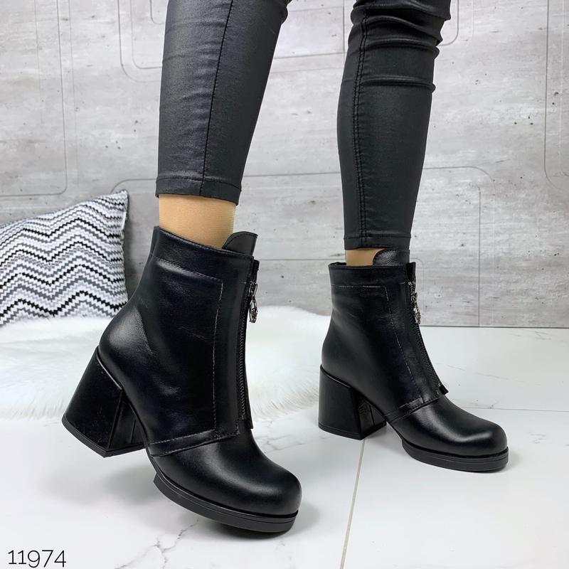 ❤ женские черные весенние деми  кожаные ботинки ботильоны на б... - Фото 4