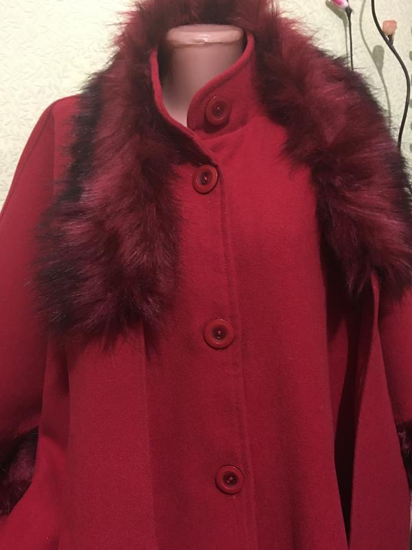 Роскошное красное демисезонное пальто пончо накидка 🌿