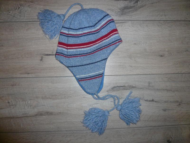 Зимняя шапка на флисе  4-6 лет 50 -51 см  помпон завязки в идеале