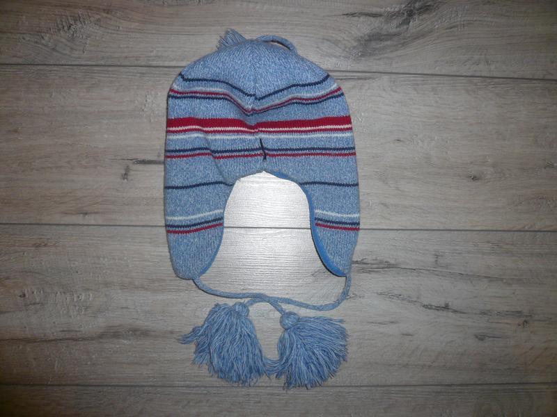 Зимняя шапка на флисе  4-6 лет 50 -51 см  помпон завязки в идеале - Фото 3
