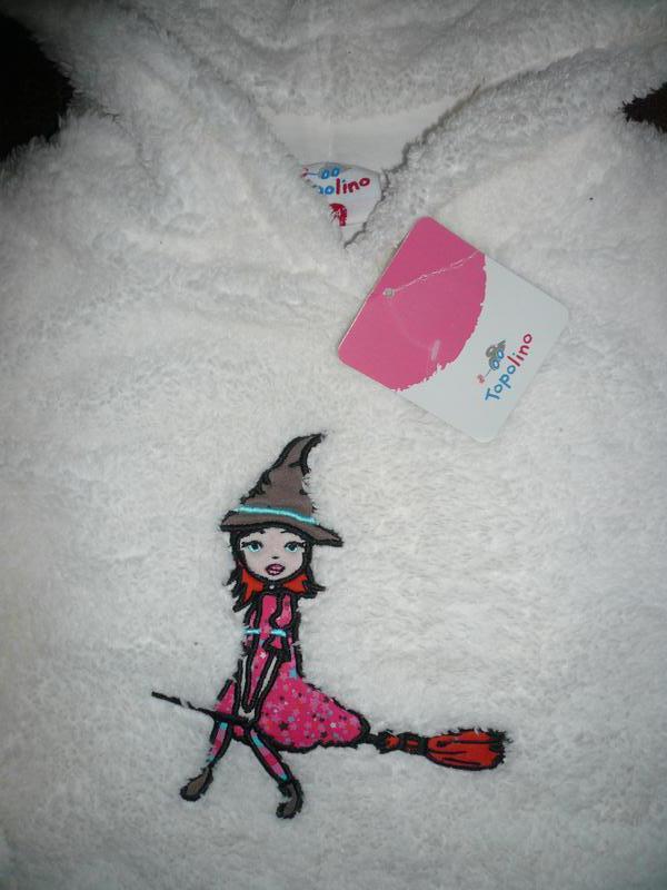 Кофта меховушка с капюшоном тополино 104 см хеллоуин ведьмочка... - Фото 2