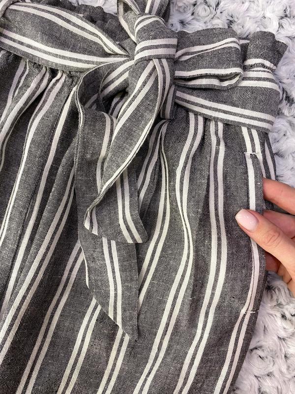 Штаны/брюки в полоску с пояском - Фото 3