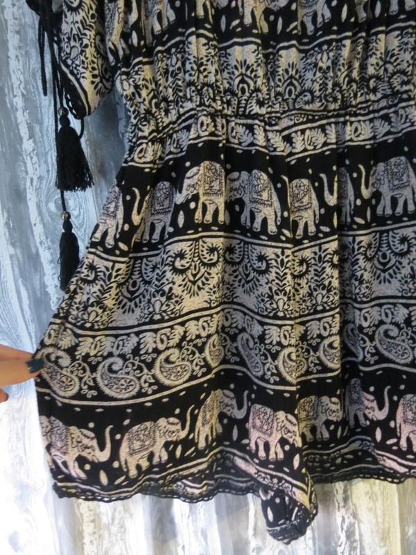 Комбинезон с шортами  с индийским принтом и открытыми плечами ... - Фото 2