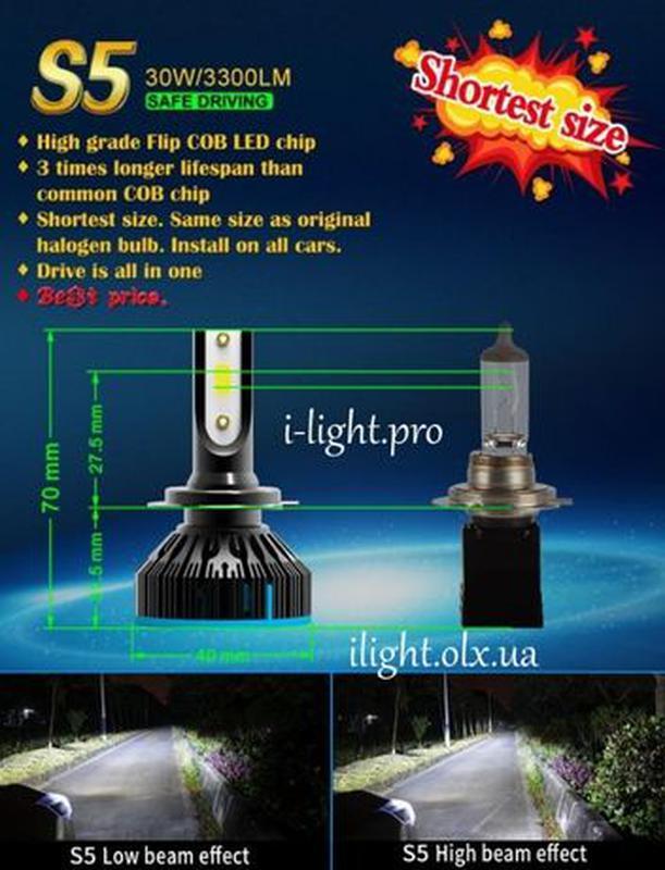 S5 H4 Светодиодные автомобильные LED автолампы H1 H7 лед ксенон - Фото 7