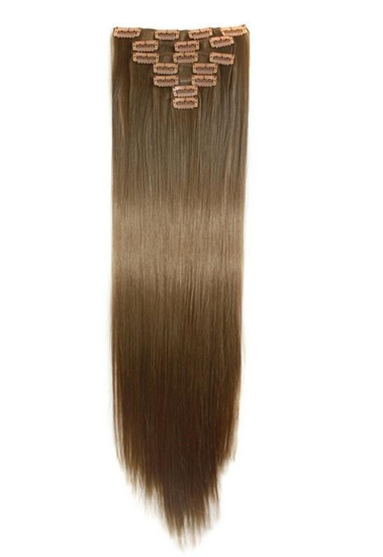 Трессы набор прямые 3855 волосы на заколках клипсах 16клипс св...