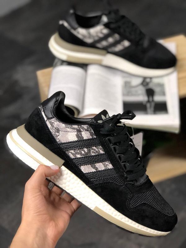 Adidas zx 500 black white and snakeskin шикарные мужские кросс...