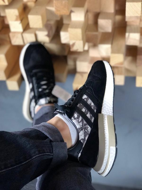 Adidas zx 500 black white and snakeskin шикарные мужские кросс... - Фото 3