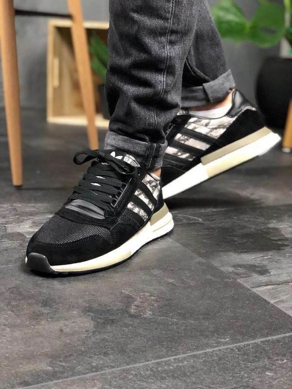 Adidas zx 500 black white and snakeskin шикарные мужские кросс... - Фото 4