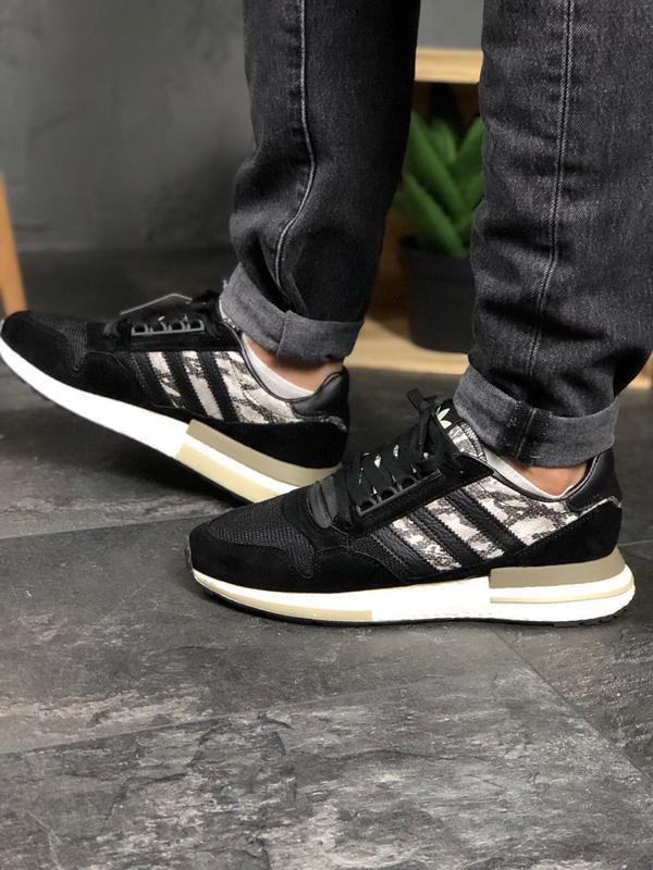 Adidas zx 500 black white and snakeskin шикарные мужские кросс... - Фото 6