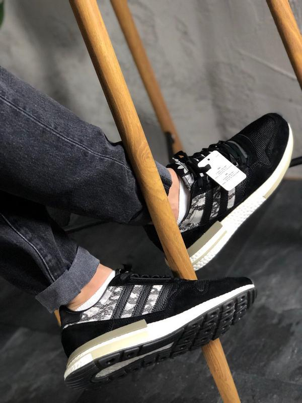 Adidas zx 500 black white and snakeskin шикарные мужские кросс... - Фото 7