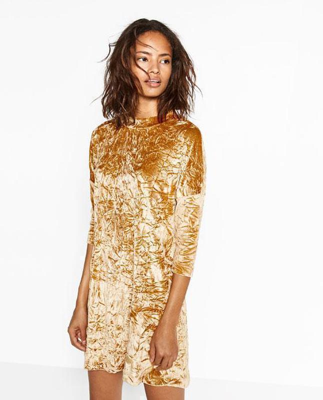 Платье бархатное с жемчужным блеском zara размер м