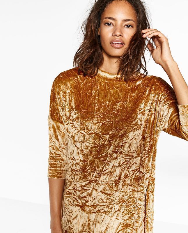 Платье бархатное с жемчужным блеском zara размер м - Фото 2