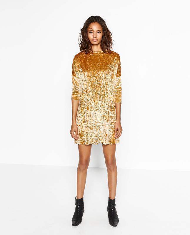 Платье бархатное с жемчужным блеском zara размер м - Фото 3