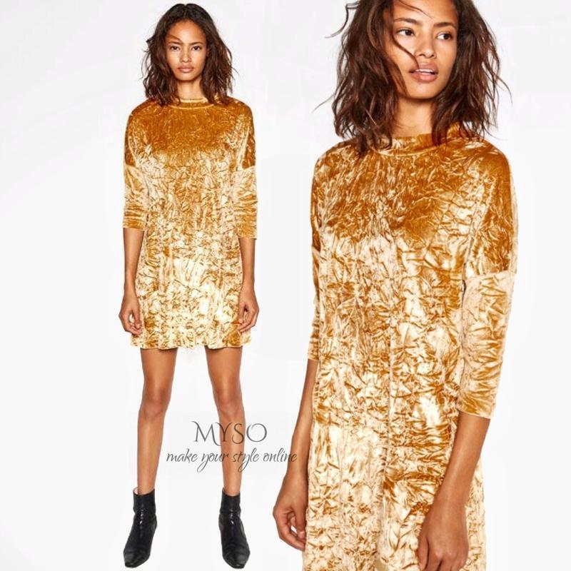 Платье бархатное с жемчужным блеском zara размер м - Фото 6