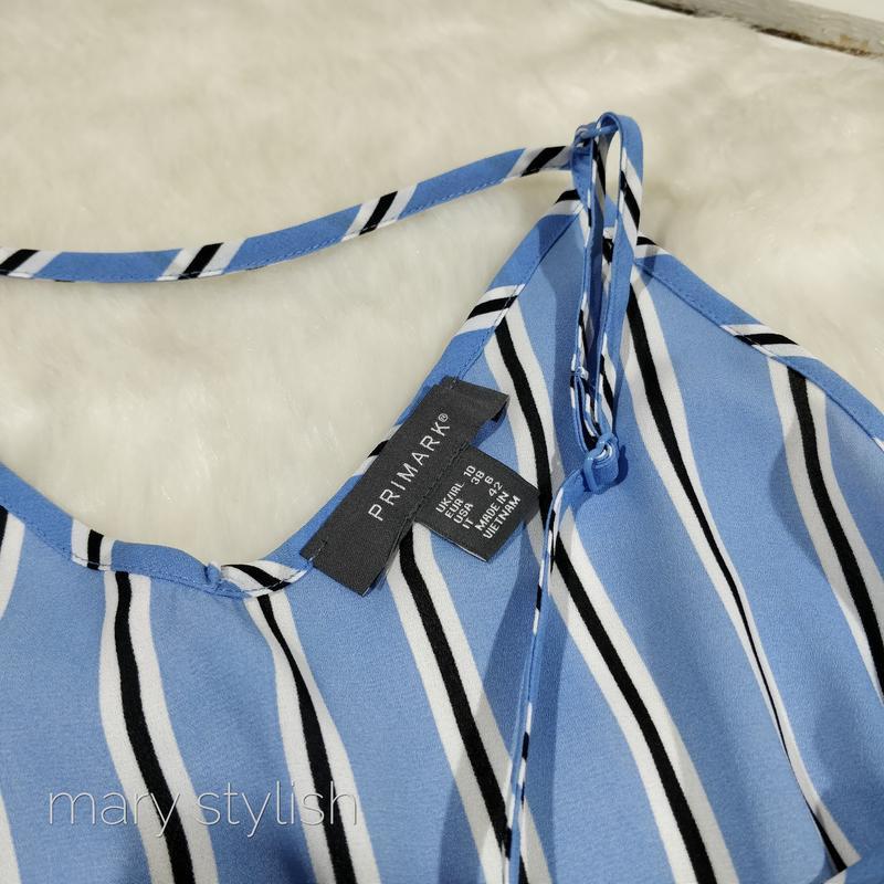 Шифоновая блузка майка в полоску - Фото 3