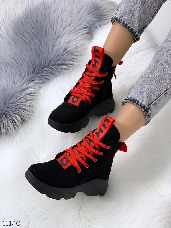 Женские замшевые ботинки с красными вставками,высокие ботинки ...