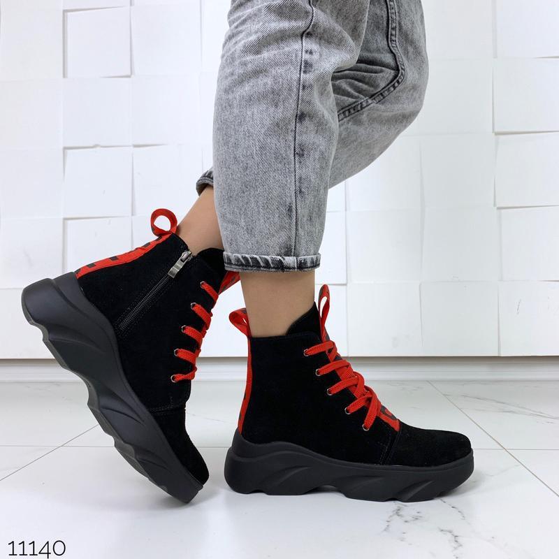 Женские замшевые ботинки с красными вставками,высокие ботинки ... - Фото 2