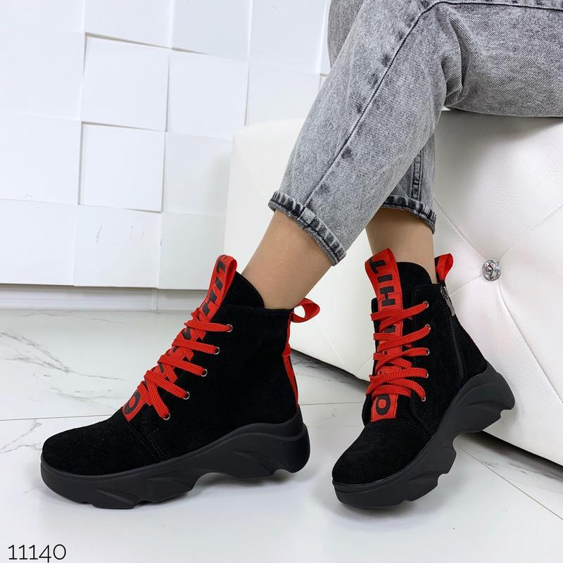Женские замшевые ботинки с красными вставками,высокие ботинки ... - Фото 3