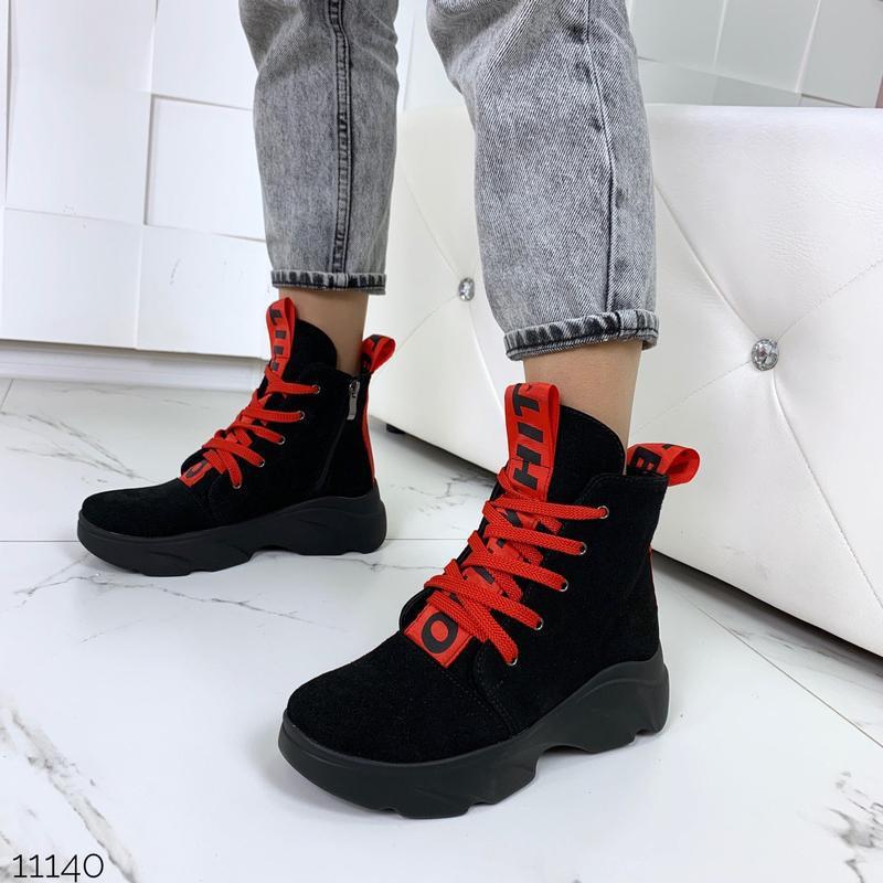 Женские замшевые ботинки с красными вставками,высокие ботинки ... - Фото 5